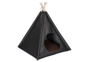 Teepee Tent Pet Bed- Denim - le-pet-luxe