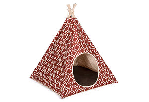 Teepee Tent Pet Bed- Moroccan Marsala - Le Pet Luxe