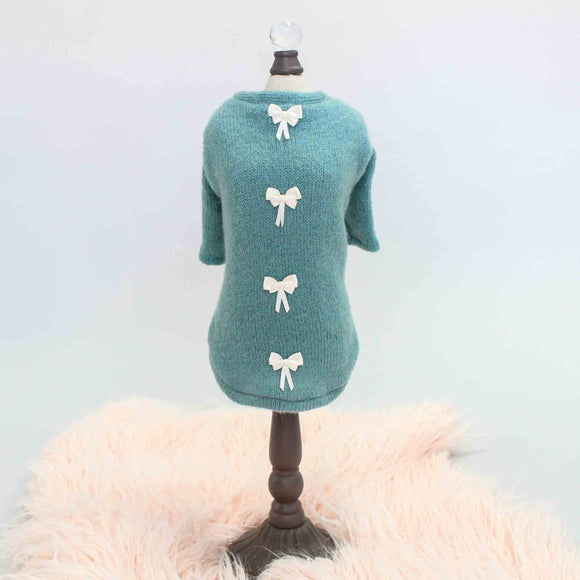 Dainty Bow Dog Sweater ~ Teal - le-pet-luxe