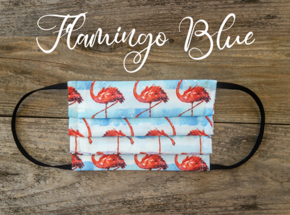 Reusable Fabric Face Mask with Pocket for Filter ~ Blue Flamingo - Le Pet Luxe