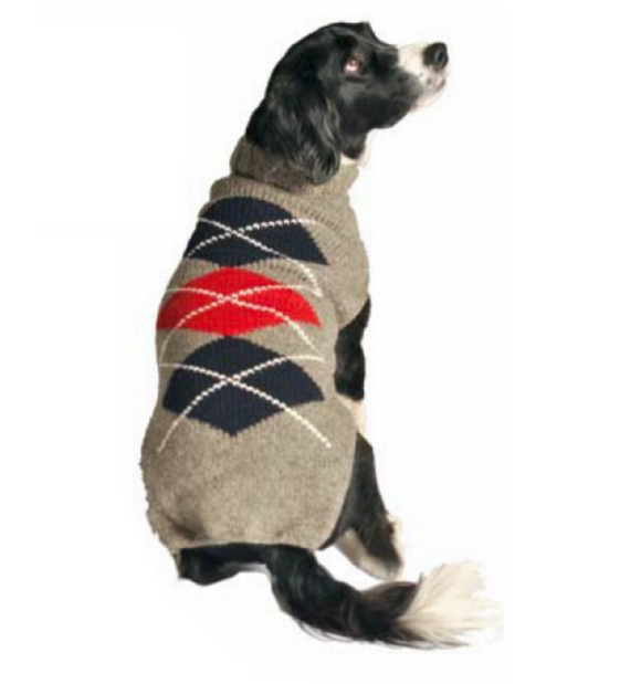 Classics ~ Gray Argyle Wool Dog Sweater - Le Pet Luxe