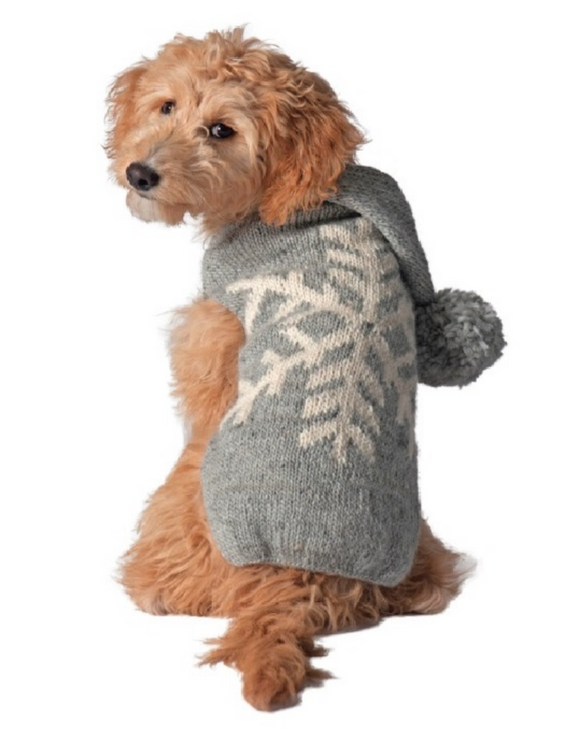 Grey Alpaca Snowflake Dog Sweater - Le Pet Luxe