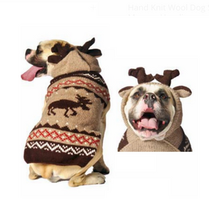 Characters ~ Hand Knit Wool Dog Sweater Moosey Hoodie - Le Pet Luxe