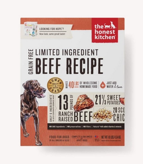 Honest Kitchen Dog Lid Grain Free Beef 10 Lbs. Box - Le Pet Luxe