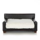 Metro Chair ~ Black Faux Leather with Shaggy Ivory - Le Pet Luxe