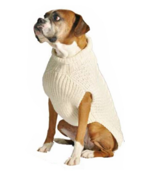 Cable knits ~ Natural Cable Wool Dog Sweater - Le Pet Luxe