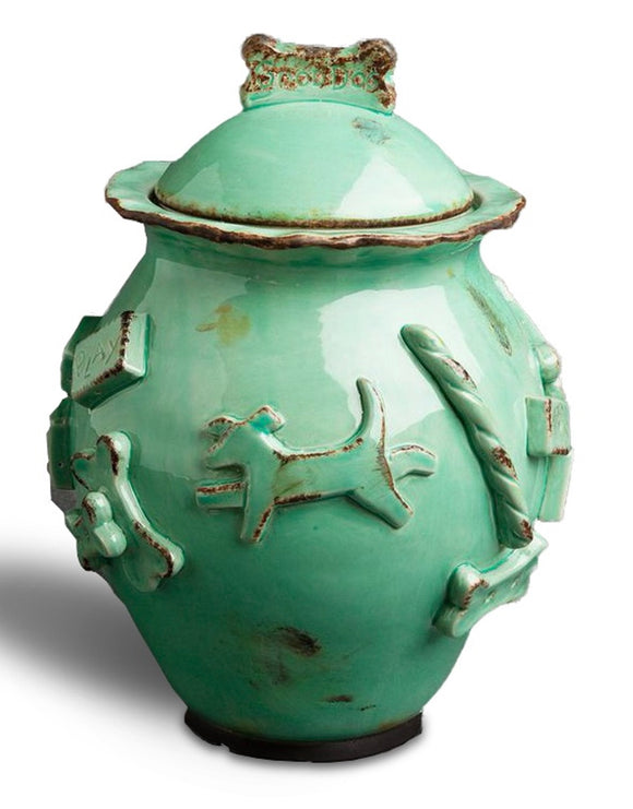 Dog Treat Jar - Aqua/Green - le-pet-luxe