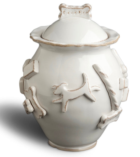Dog Treat Jar - French White - le-pet-luxe