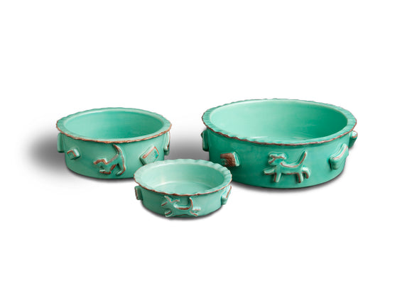 Dog Food & Water Bowls - Green - Le Pet Luxe