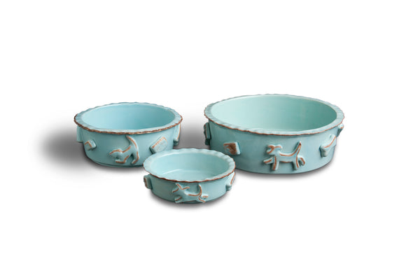 Dog Food & Water Bowls - Blue - le-pet-luxe