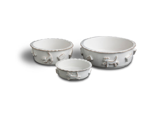 Dog Food & Water Bowls - French White - Le Pet Luxe