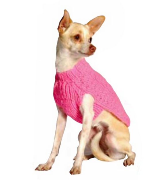 Pink Cable Wool Dog Sweater - Le Pet Luxe
