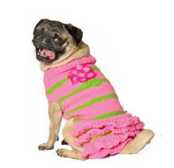Pink Flower Skirt Dog Sweater - Le Pet Luxe