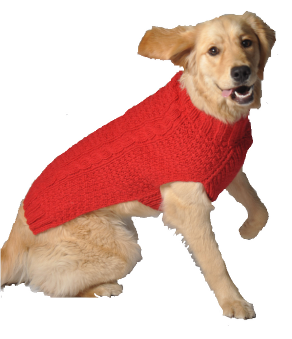 Red Cable Knit Dog Sweater - Le Pet Luxe