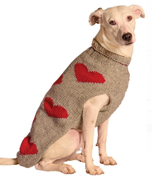 Red Hearts Dog Sweater - Le Pet Luxe