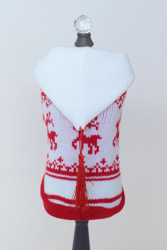 Red & White Hoodie Sweater - le-pet-luxe