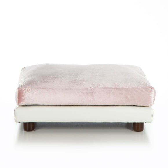 Soho Milo ~ White Faux Leather with Pink Velvet - Le Pet Luxe