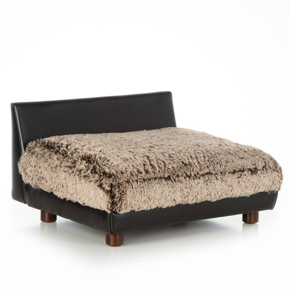Soho Roma ~ Black Faux Leather with Shaggy Frosted Brown/Beige - Le Pet Luxe
