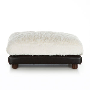 Soho Milo ~ Black Faux Leather with Shaggy Ivory - Le Pet Luxe