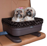 "Bucket Seat Booster ~ Chocolate/Chocolate Swirl 16"" - Le Pet Luxe"