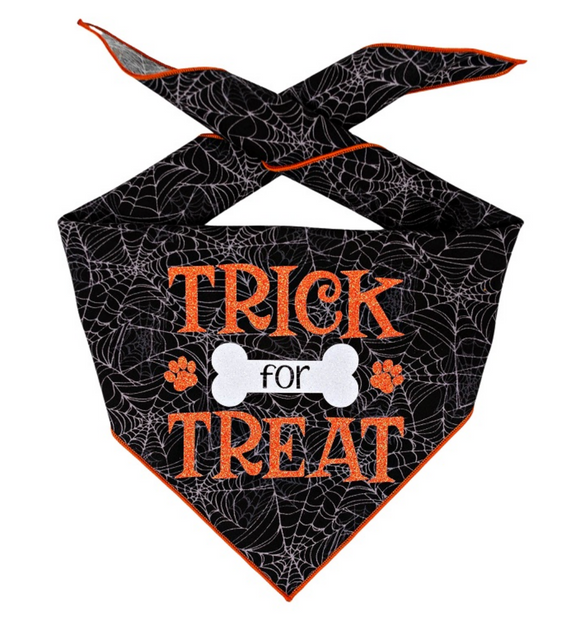 Halloween Bandana | Halloween Dog Bandana | Black Spider Web | Trick for Treat - Le Pet Luxe