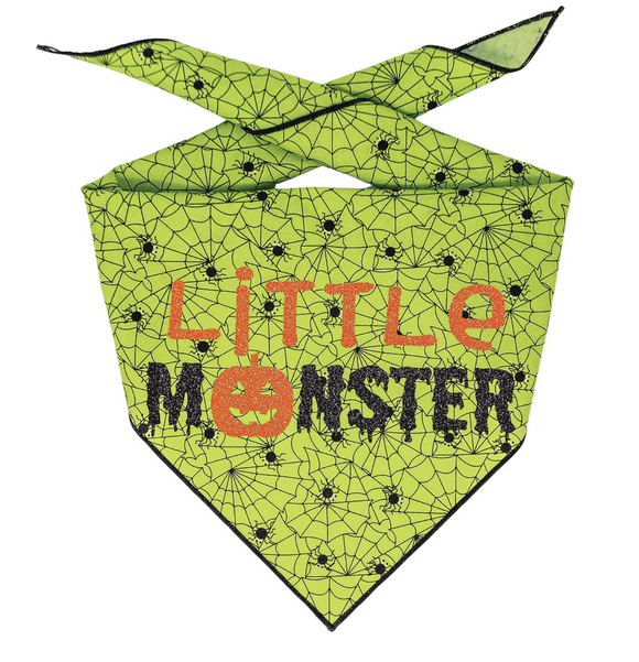 Halloween Bandana | Halloween Dog Bandana, Green Spider Web with Spiders | Little Monster - Le Pet Luxe