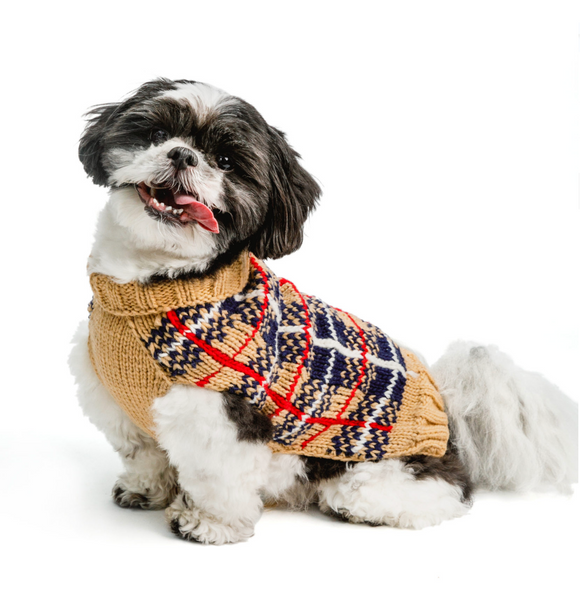 Tan Tartan Plaid Dog Sweater - Le Pet Luxe