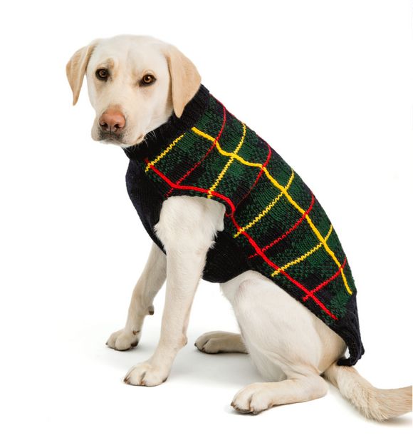 Navy Tartan Plaid Dog Sweater - Le Pet Luxe