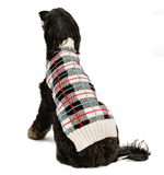 White Tartan Plaid Dog Sweater - Le Pet Luxe