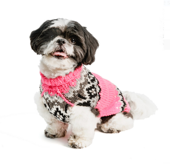 Bubblegum Pink Fairisle Dog Sweater - Le Pet Luxe