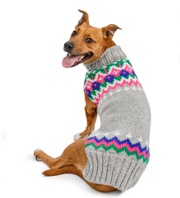Light Grey Fairisle Wool Dog Sweater - Le Pet Luxe
