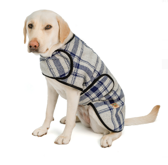 Grey/Blue Plaid Dog Blanket Coat - Le Pet Luxe