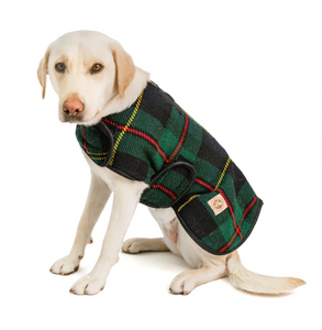 Navy Tartan Plaid Dog Blanket Coat - Le Pet Luxe