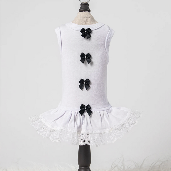 Sweetheart Dog Dress ~ Black Bow - Le Pet Luxe