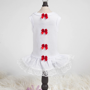 Sweetheart Dog Dress ~ Red Bow - Le Pet Luxe