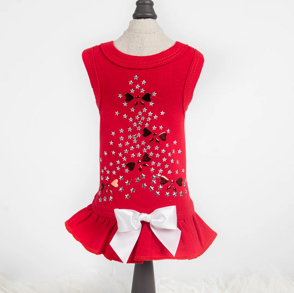 Holiday Sparkle Dog Dress ~ Red - Le Pet Luxe