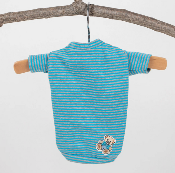 Candy Striped Dog Tee ~ Blue - Le Pet Luxe
