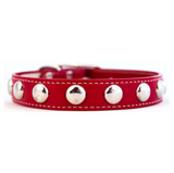 Silver Studded Collar ~ Red