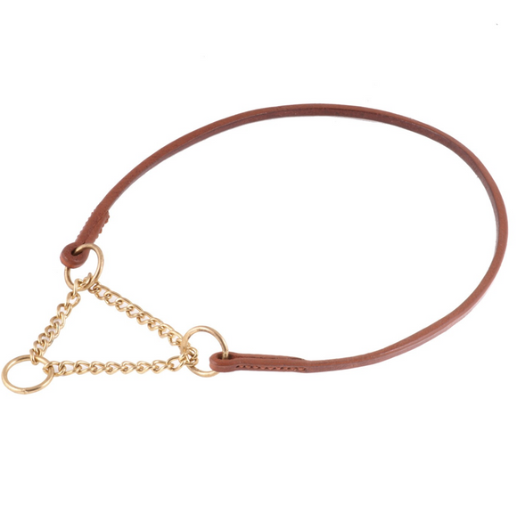 Flat Leather Collar With Martingale Chain