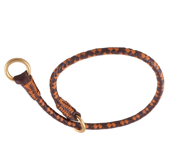 Braided Leather Slip Collars ~ Brown Mix