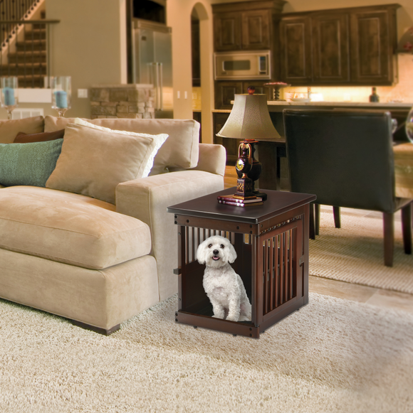 Wooden End Table Crate ~ Dark Brown - Le Pet Luxe