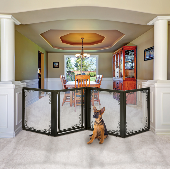Convertible Elite Mesh Pet Gate 4-Panel 31.5″H - Le Pet Luxe
