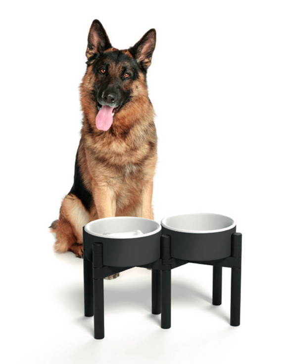 Pine Wood Bowl Stand ~ Large - Le Pet Luxe
