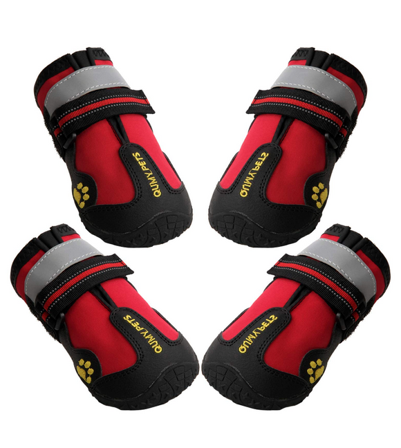 QUMY Dog Waterproof Boots for Large Dogs - Red - le-pet-luxe