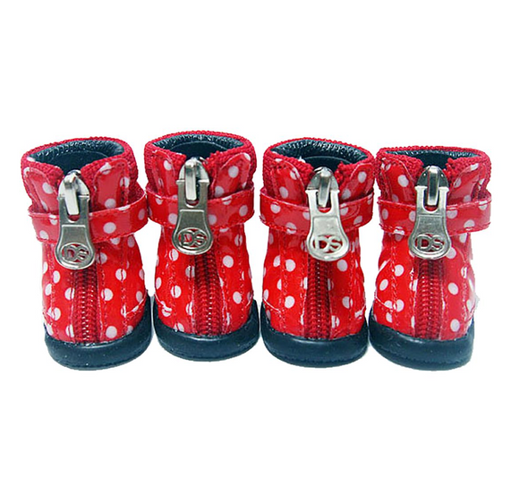 Polka Dot Hiker Dog Boots - Red - le-pet-luxe