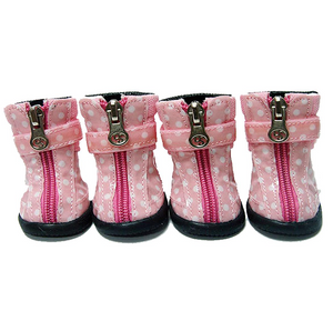Polka Dot Hiker Dog Boots - Light Pink - Le Pet Luxe