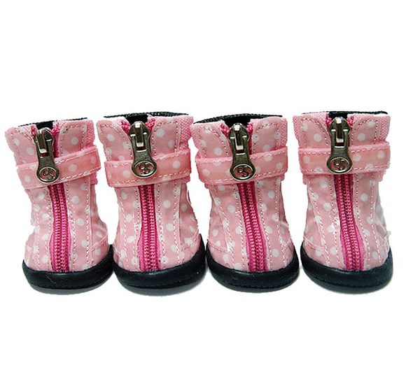 Polka Dot Hiker Dog Boots - Light Pink - le-pet-luxe