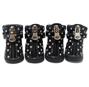 Polka Dot Hiker Dog Boots - Black - Le Pet Luxe