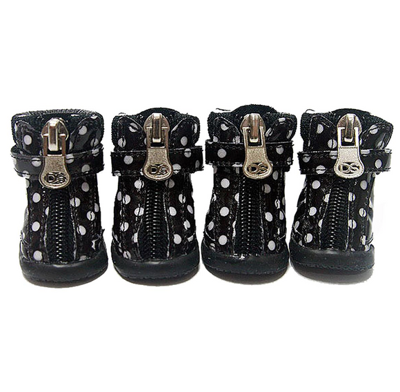 Polka Dot Hiker Dog Boots - Black - le-pet-luxe