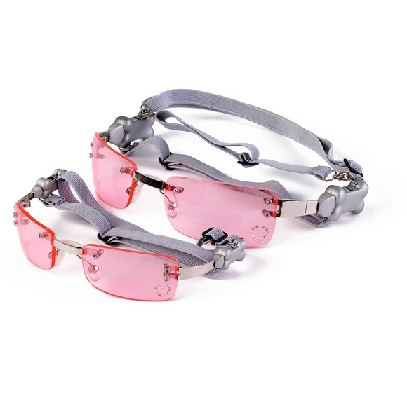 Sunglasses Metallic Pink Heart Lens - le-pet-luxe